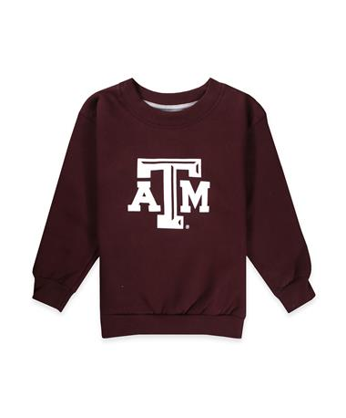 Texas A&M Infant/Toddler Fleece-Lined Crew - Maroon - Front Maroon