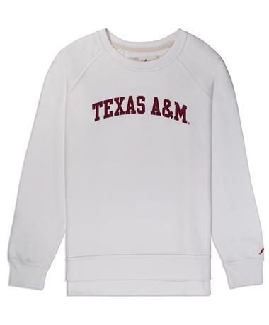 Texas A&M League Academy Crew Pullover - White - Front White