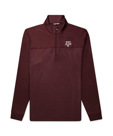 Texas A&M Traverse Stripe Half Zip_Front Bordeaux