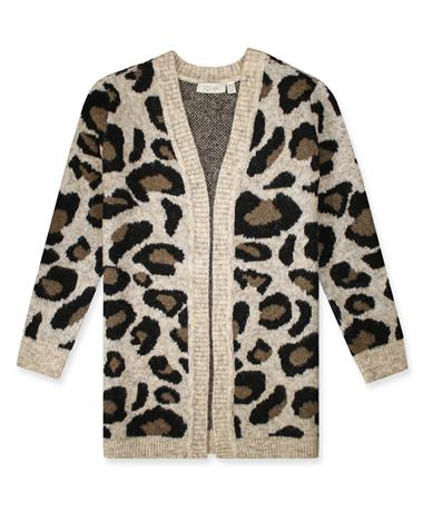 Women`s Knit Cheetah Print Cardigan 23 VH Camel Leopard 23VHCA