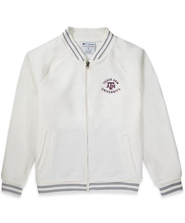 Texas A&M Womens Sherpa Bomber-Front 007 Winter White