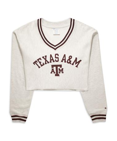 Texas A&M Champion Reverse Weave Cropped V-Neck - Front 578 Maroon