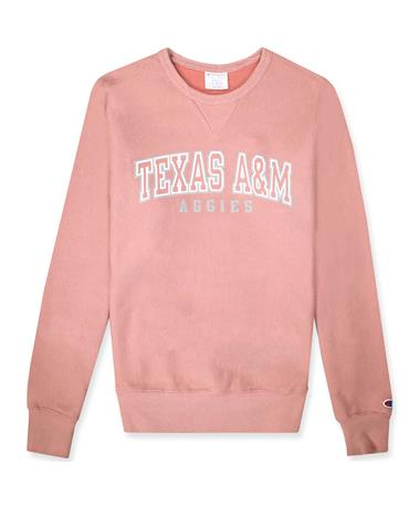 Texas A&M Champion Reverse Weave Vintage Wash Crew - front 5571 Misted Rose