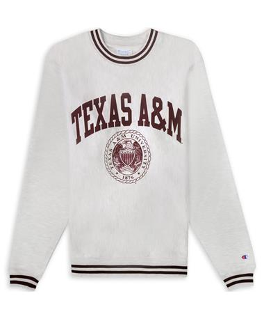 Texas A&M Champion Reverse Weave Striped Rib Crew