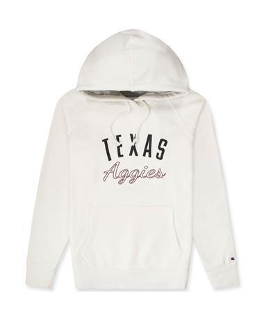 Texas A&M Aggies Women`s Rochester Fleece Hoodie-Front 740 White Alabaster