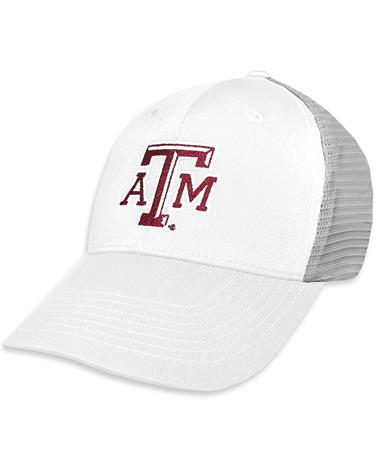 Texas A&M GameGuard White & Grey Meshback Cap - Angled White Cap/ Glacier