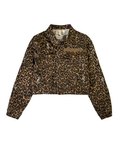 Leopard Print Distressed Cropped Denim Jacket - Laid Flat Tan Leopard