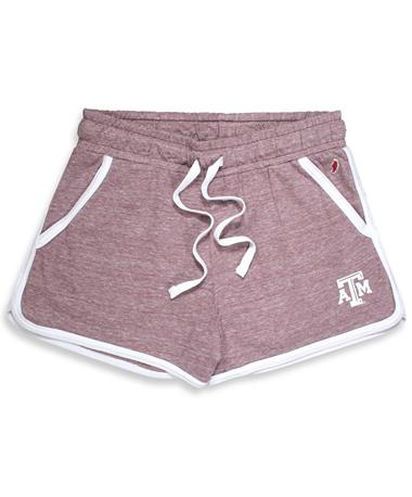 Texas A&M League Women`s Phys Ed Shorts - Maroon - Front CLGT Maroon
