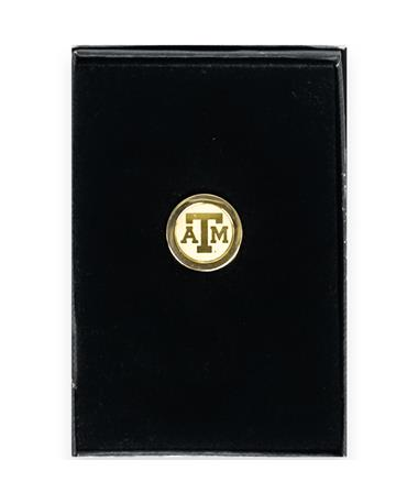 Texas A&M Block ATM Gold Lapel Pin Gold