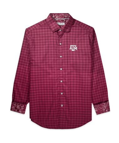 Texas A&M Tommy Bahama Sport Competitor Check Long Sleeve - Maroon Berry - Front Maroon Berry-15706
