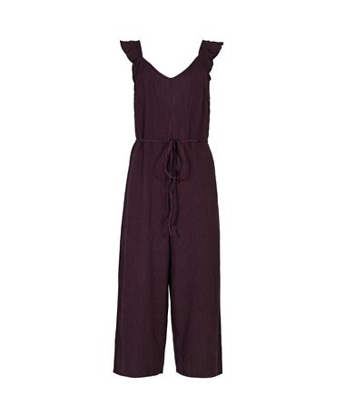 Maroon Pinstriped Jumpsuit with Ruffled Sleeves - Front BURGUNDY/WHITE