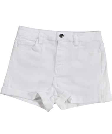 High Rise White Shorts - Front WHITE