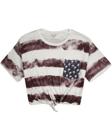 Maroon American Flag Boxy Crop Tie Front Top MULTI