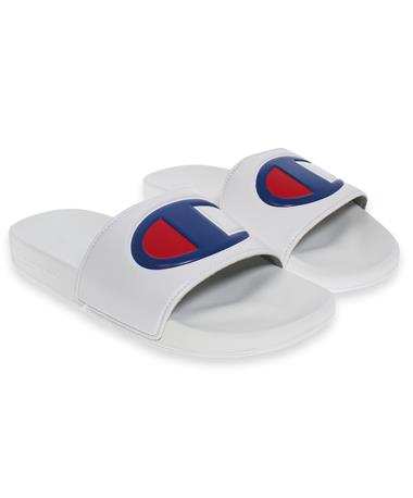 Champion White Slides - Angled White