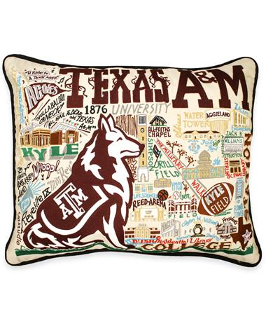 Texas A&M CatStudio Embroidered Pillow Cream