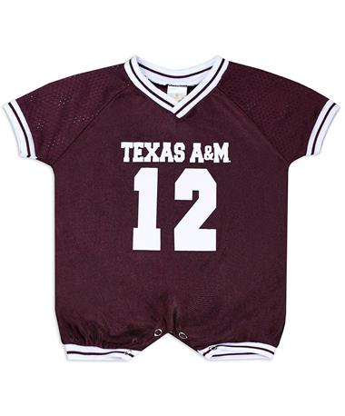 Texas A&M Infant Football Jersey Romper - Front Maroon/White
