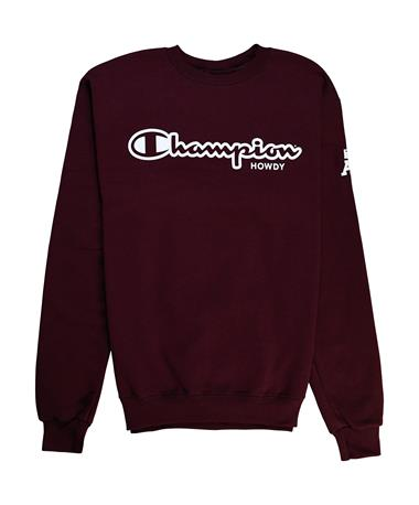 Texas A&M Champion Howdy Powerblend Fleece Crew - Front Maroon