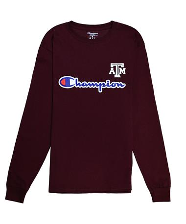 Texas A&M Champion Long Sleeve Tee - Maroon - Front Maroon