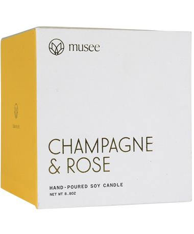Musee Champagne & Rose Soy Candle - Front Multi