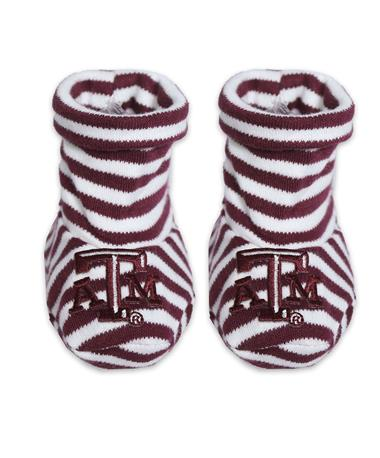 Texas A&M Striped Baby Booties - Front - Pair MAROON/WHITE