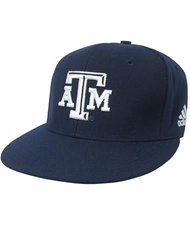 Texas A&M Adidas Americana Fitted Baseball Cap - Angled Navy