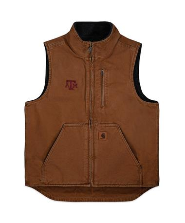 Texas A&M Carhartt Sherpa Vest - Front Tan