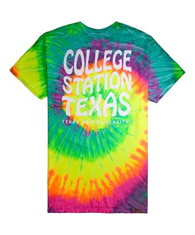 Texas A&M College Station Texas Tie Dye T-Shirt - Back Tie Dye