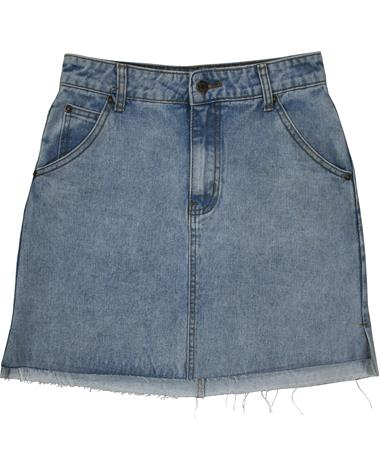 Sadie & Sage Raw Hem Denim Skirt - Front Denim