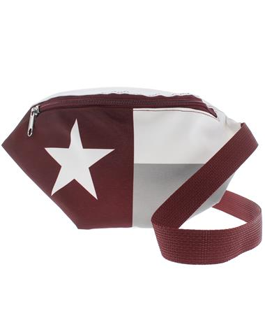Maroon Texas Flag Fanny Pack - Front Maroon/ White
