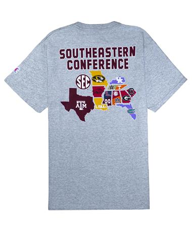 Texas A&M Champion Maroon SEC T-Shirt - Back Oxford