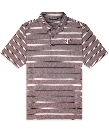 Texas A&M Cutter & Buck Striped Forge Polo - Bordeaux - Front BORDEAUX