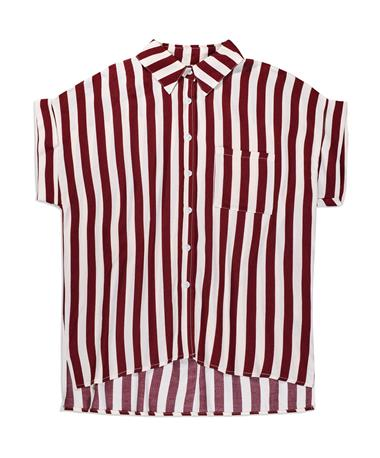 Maroon & White Stripe Button Down Blouse - Front WINE/WHITE