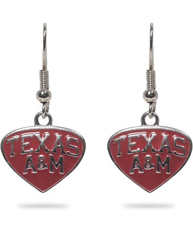 Texas A&M Maroon Enamel Earrings - Front MAROON
