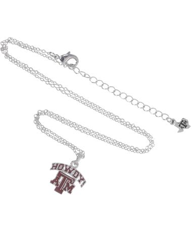 Texas A&M Howdy Pendant Necklace MAROON