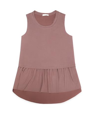 Maroon Luna Sleeveless Peplum Top - Front BURGUNDY