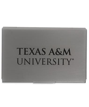 Texas A&M Engraved Business Card Holder - Front SILVER