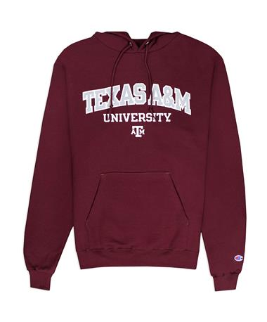 Texas A&M Champion Powerblend Hoodie - Maroon - Front Maroon