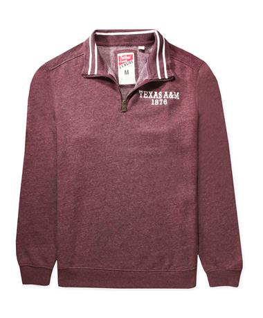 Texas A&M League 1876 Triblend Quarter Zip - Front Heather Var Maroon