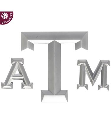 Texas A&M Three Piece Matte Emblem - Front SILVER