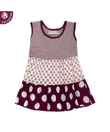 Texas A&M Toddler ATM Stripe & Polka Dot Dress