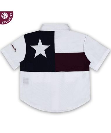 Texas A&M Infant Flag Fishing Shirt - White - Back White