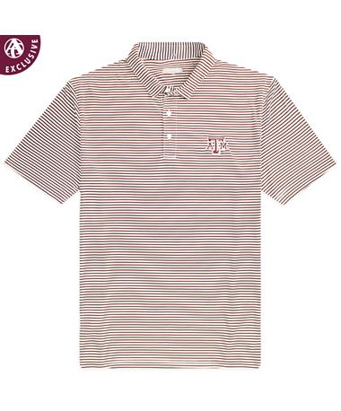 Texas A&M Striped Performance Polo - Front Maroon/ White