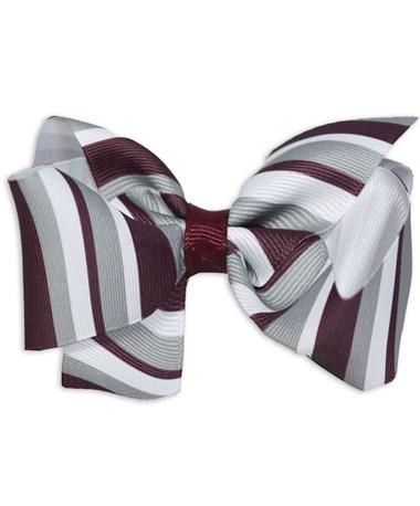 Maroon Striped King Bow - Front MAROON/WHITE