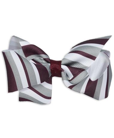 Maroon Medium Stripe Bow - Front MAROON/WHITE