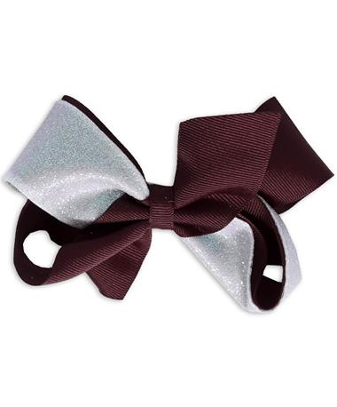 Maroon & White Glitzy King Bow - Front WHITE/BURGUNDY