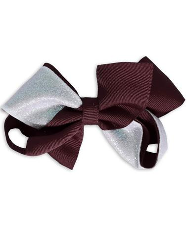 Maroon & White Glitzy Medium Bow - Front WHITE/BURGUNDY