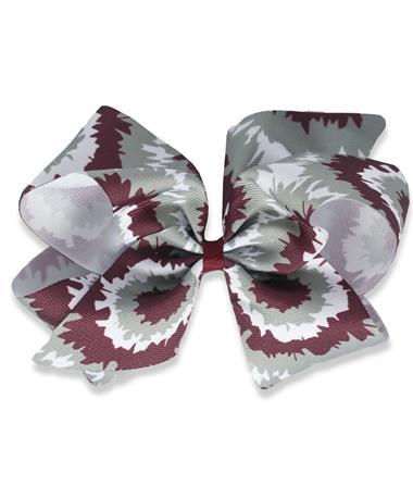 Maroon Tie Dye Medium Bow - Front MAROON/WHITE