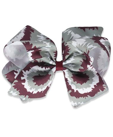 Maroon Tie Dye King Bow - Front MAROON/WHITE