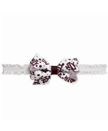 Texas A&M Mini Print Bow Headband - Front TEXAS AM MAROON/WHITE