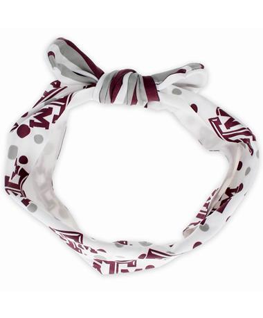 Texas A&M Tied Headband - Top MAROON/WHITE